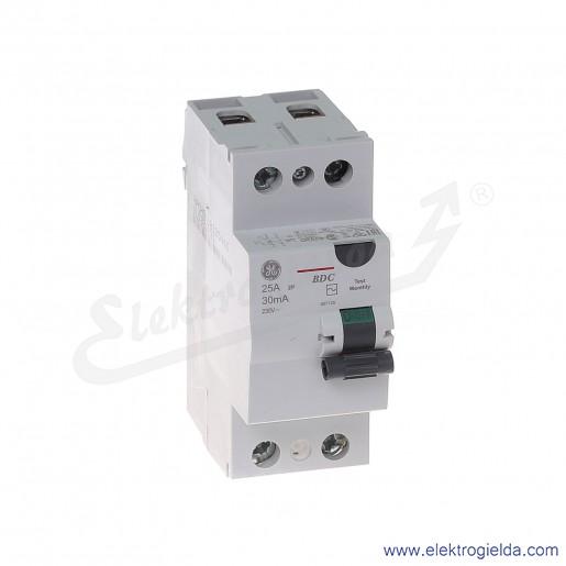 Wyłącznik różnicowoprądowy BDC225/030 2P 25A 0,03A typ AC