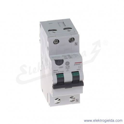 Wyłącznik różnicowo-nadprądowy DM60C16/030 2P 16A C 0,03A typ AC