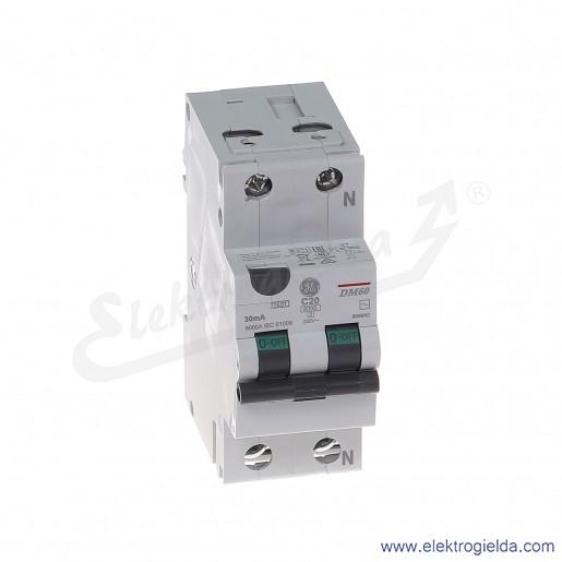 Wyłącznik różnicowo-nadprądowy DM60C20/030 2P 20A C 0,03A typ AC