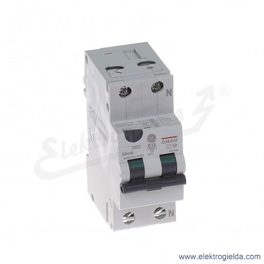 Wyłącznik różnicowo-nadprądowy DMA60B16/030 2P 16A B 0,03A typ A
