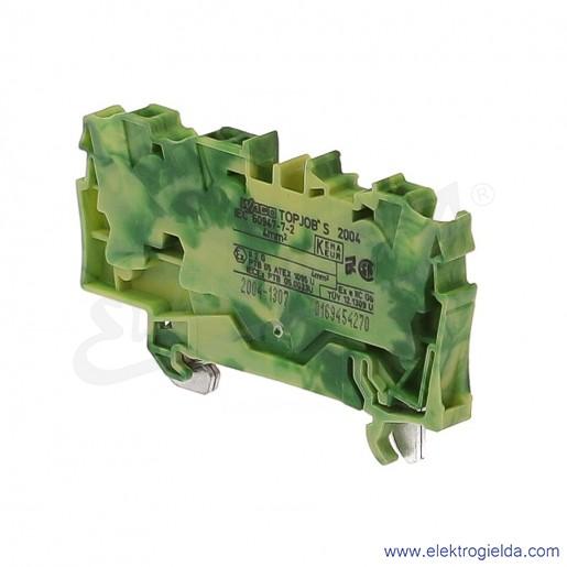 Złączka sprężynowa  2004-1307 4mm2 3-przewodowa, ochronna żółto-zielona PE TopJob S