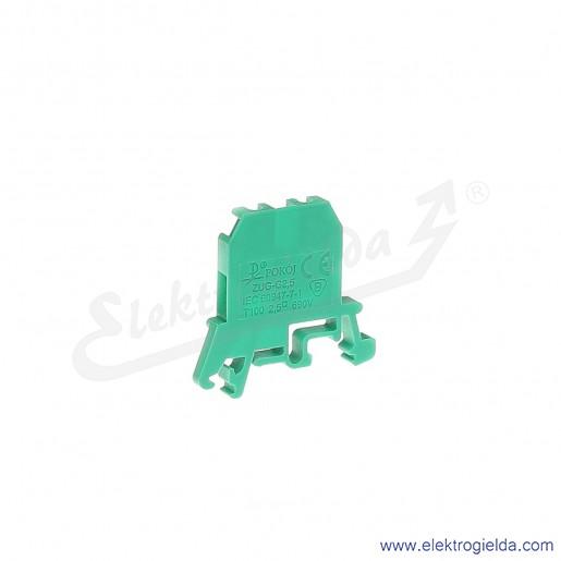 ZUG G 2,5  Złączka zielona jednotorowa gwintowa