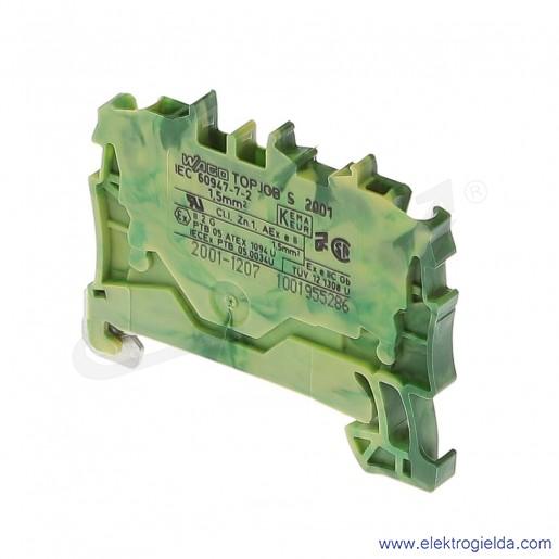 Złączka sprężynowa  2001-120471,5mm2 2-przewodowa,  ochronna żółto-zielona PE TopJob S