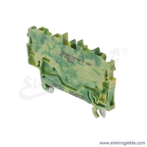 Złączka sprężynowa  2001-1307 1,5mm2 3-przewodowa,  ochronna żółto-zielona PE TopJob S
