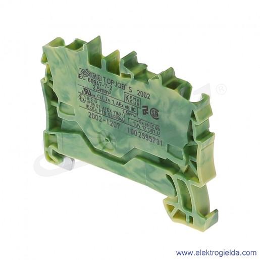 Złączka sprężynowa  2002-1207 2,5mm2 2-przewodowa,  żółto-zielona PE TopJob S