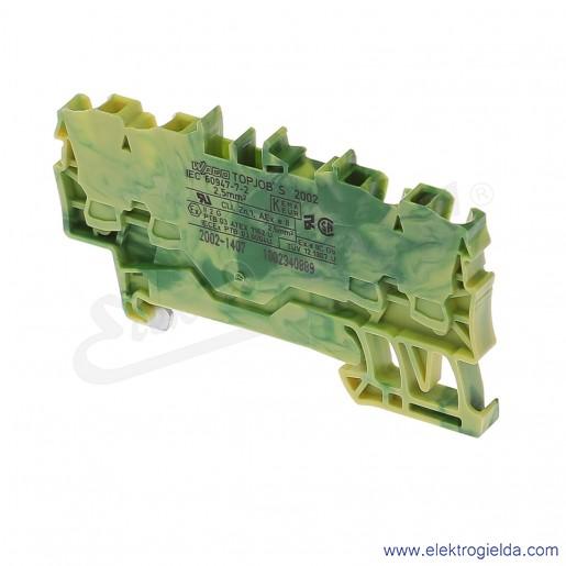 Złączka sprężynowa  2002-1407 2,5mm2 4-przewodowa, ochronna żółto-zielona PE TopJob S