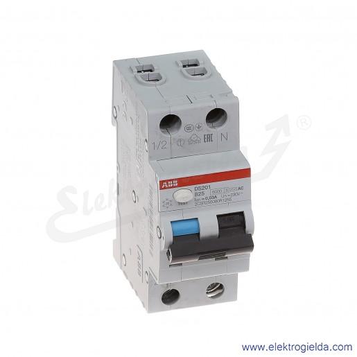 Wyłącznik różnicowo-nadprądowy DS201 AC-B25/0,03 2P 25A B 0,03A typ AC