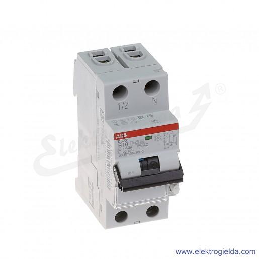 Wyłącznik różnicowo-nadprądowy DS201 AC-B10/0,3 2P 10A B 0,3A typ AC