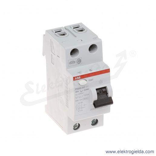 Wyłącznik różnicowoprądowy FH202 AC-40/0,03 2P 40A 0,03A typ AC