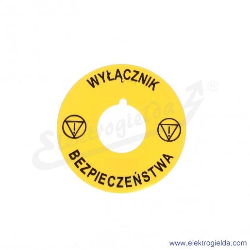 8LM2TAU122 tabliczka 60mm żółta z napisem WYŁĄCZNIK BEZPIECZEŃSTWA
