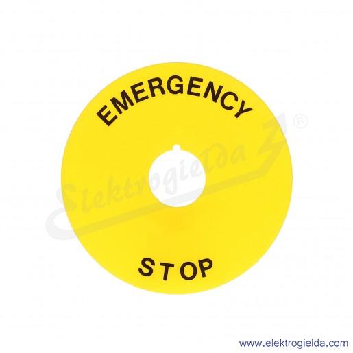 8LM2TAU113 tabliczka 90mm żółta z napisem EMERGENCY STOP