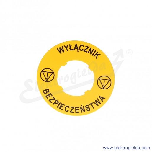 LPXAU122 tabliczka 60mm żółta z napisem WYŁĄCZNIK BEZPIECZEŃSTWA