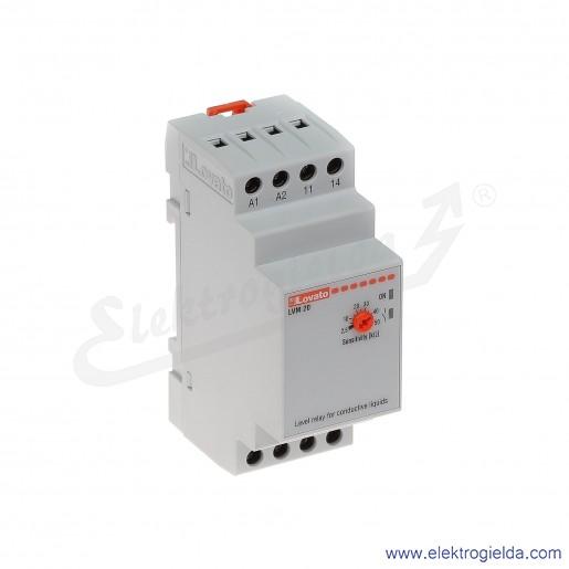 Przekaźnik kotroli poziomu LVM20A240 Uz 220...240VAC, styk 1C/O, regulowana czułość 2,5...50kOhm