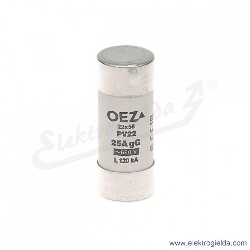 Wkładka bezpiecznikowa PV22 25A gG 690VAC 22x58