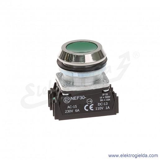 Przycisk sterowniczy NEF30 KzXY zielony kryty 30mm 1NO+1NC