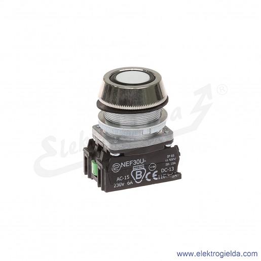 Przycisk sterowniczy NEF30 UKbXY biały kryty uszczelniony 30mm 1NO+1NC
