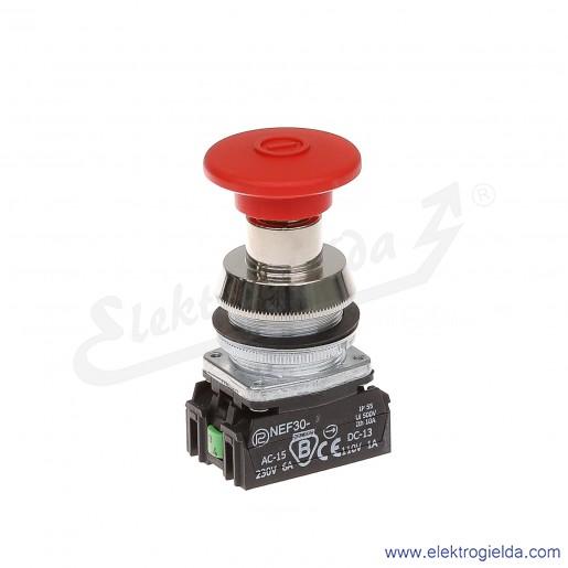 Przycisk awaryjny NEF30 DRcXY czerwony dłoniowy ryglowany wyciągany 30mm 1NO+1NC