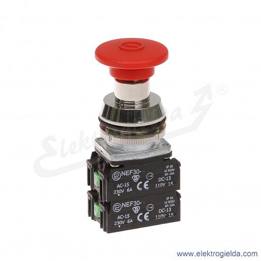 Przycisk awaryjny NEF30 DRc2X2Y czerwony dłoniowy ryglowany wyciągany 30mm 2NO+2NC