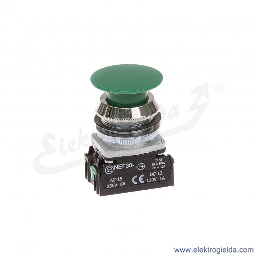 Przycisk dłoniowy NEF30 DzXY zielony impulsowy 30mm 1NO+1NC