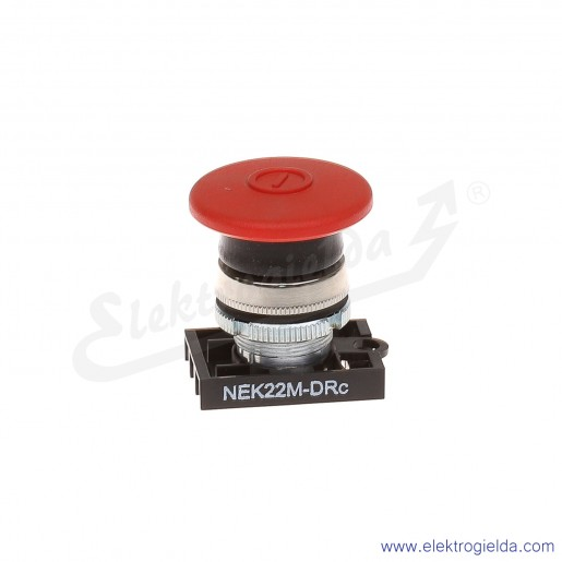 Napęd przycisku NEK22M-DRc czerwony dłoniowy ryglowany metalowy