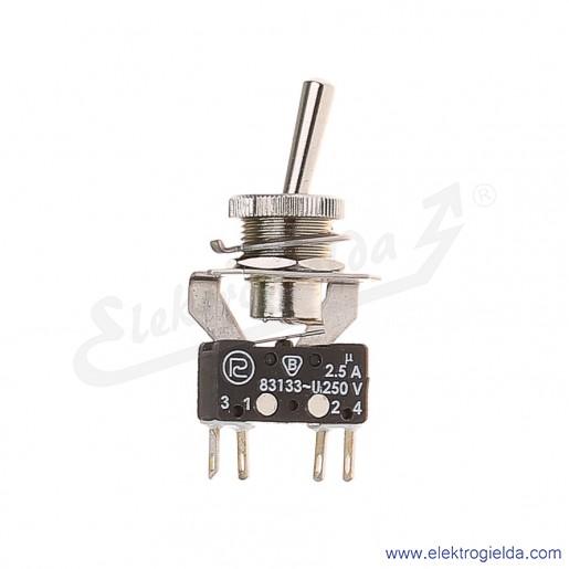 Łącznik miniaturowy 83-544-03s z napędem ręcznym 0-1 1Z+1R srebrzony