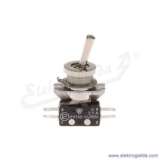 Łącznik miniaturowy 83-544-02s z napędem ręcznym 0-1 1Z+1R srebrzony
