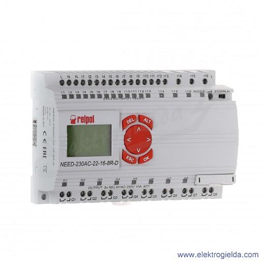 Przekaźnik programowalny NEED-230AC-22-16-8R-D z wyświetlaczem LCD