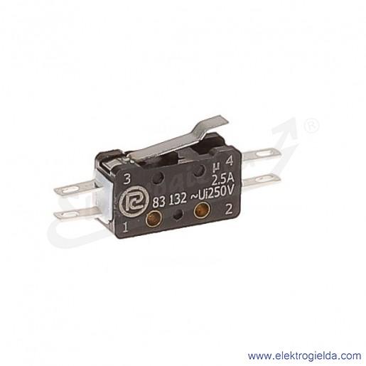 Łącznik krańcowy miniaturowy 83-132s 54Ar 14,75 z dźwignią 14,75mm 1Z+1R srebrzony
