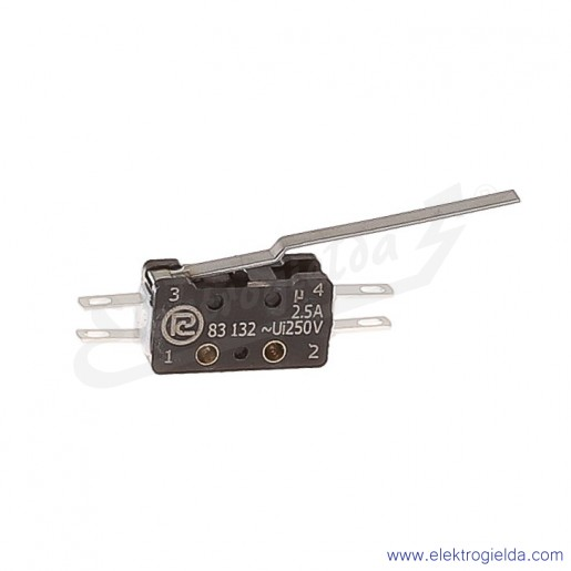 Łącznik krańcowy miniaturowy 83-132s 54Ar 35,75 z dźwignią 35,75mm 1Z+1R srebrzony