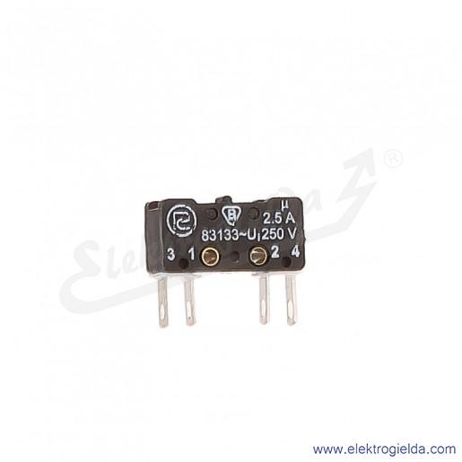 Łącznik krańcowy miniaturowy 83-133s 54Ar 7,7 z dźwignią 7,7mm 1Z+1R srebrzony