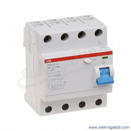 Wyłącznik różnicowoprądowy F204 AC-40/0,03 4P 40A 0,03A typ AC