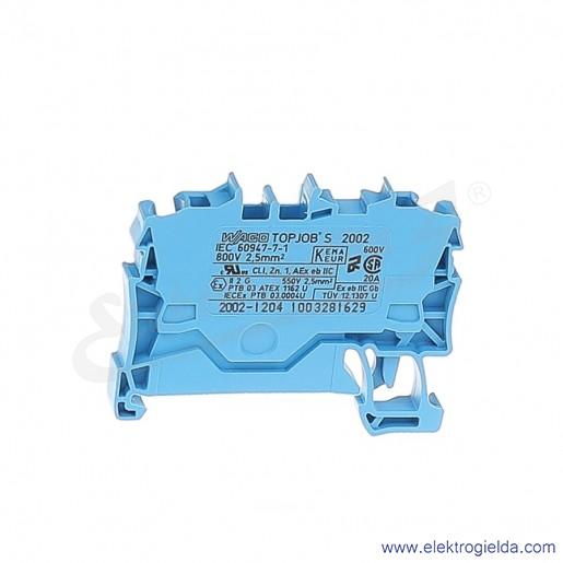 Złączka sprężynowa  2002-1204 2,5mm2 2-przewodowa,  niebieska TopJob S