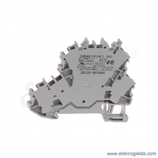 Złączka sprężynowa  2002-2201 2,5mm2 dwu piętrowa L/L 2-przewodowa,  szara TopJob S