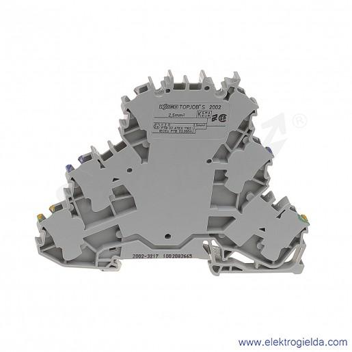 Złączka sprężynowa  2002-3217 2,5mm2 trzy piętrowa PE/L/N 2-przewodowa,  szara z oznaczonym torem N i PE TopJob S