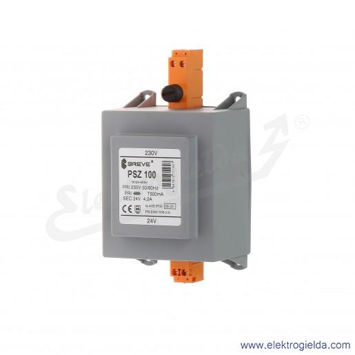 Transformator bezpieczeństwa w obudowie PSZ 100 230/24V montaż na szynie DIN IP30