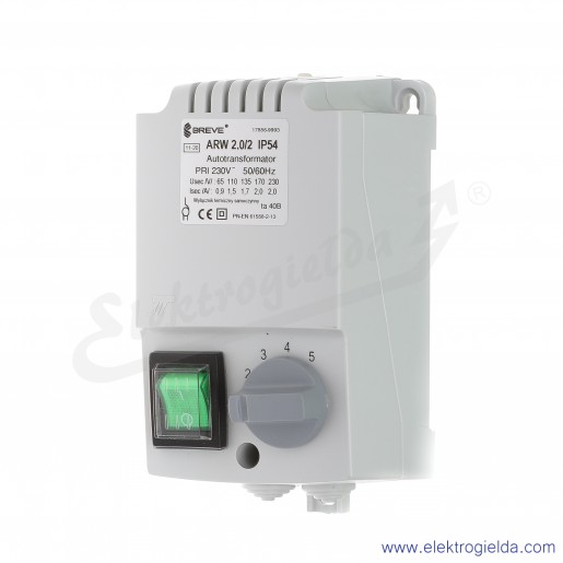 Regulator autotransformatorowy ARW 2.0/2 - 2A 230VAC, 5-stopniowa regulacja