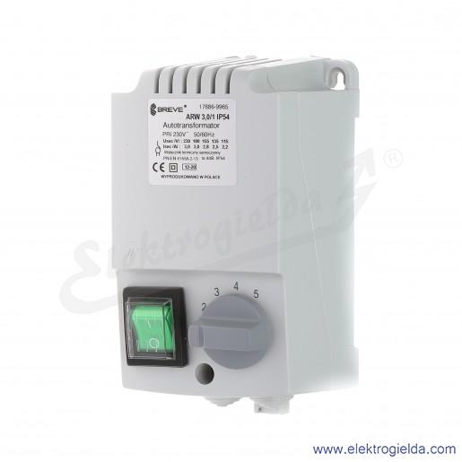 Regulator autotransformatorowy ARW 3.0/1 - 3A 230VAC, 5-stopniowa regulacja
