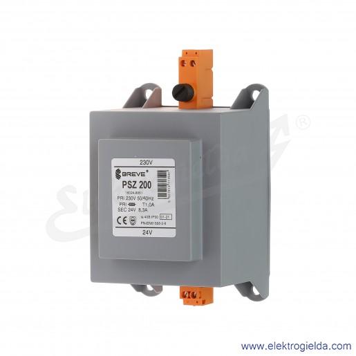 Transformator bezpieczeństwa w obudowie PSZ 200 230/24V montaż na szynie DIN IP30