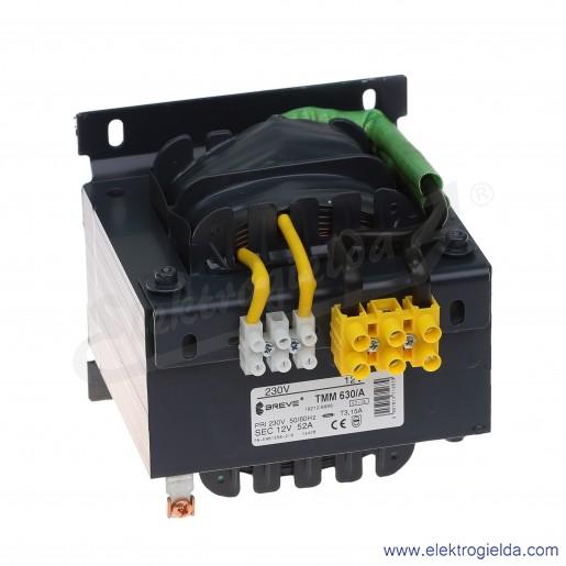 Transformator bezpieczeństwa jednofazowy otwarty TMM630 230/12V