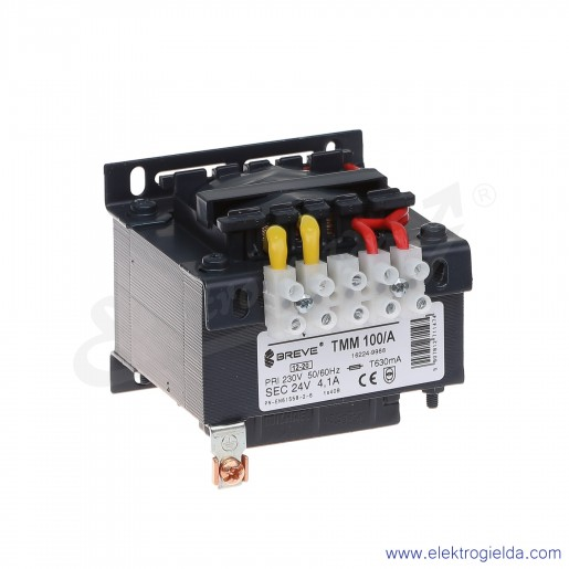 Transformator bezpieczeństwa jednofazowy otwarty TMM100 230/24V