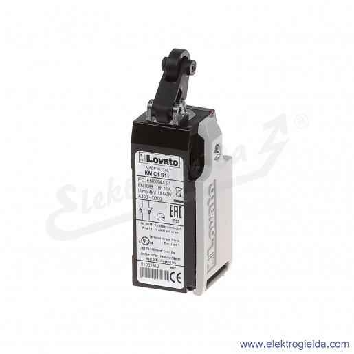 Wyłącznik krańcowy KMC1S11 dźwignia z rolką najazdową plastikową, styki 1NO+1NC, obudowa metalowa IP65
