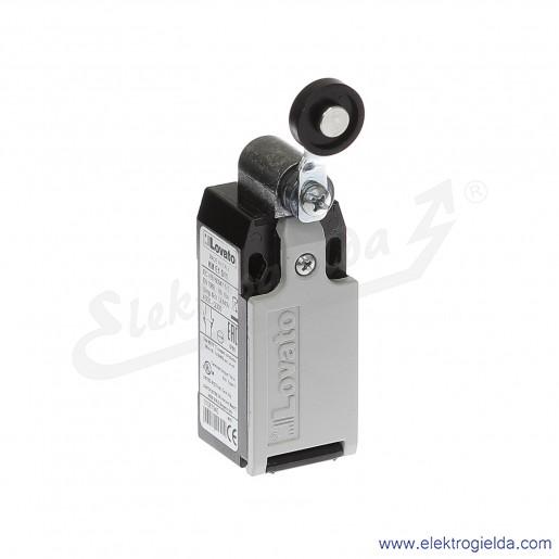 Wyłącznik krańcowy KME1S11 dźwignia uchylna z rolką plastikową 19mm, styki 1NO+1NC, obudowa metalowa IP65
