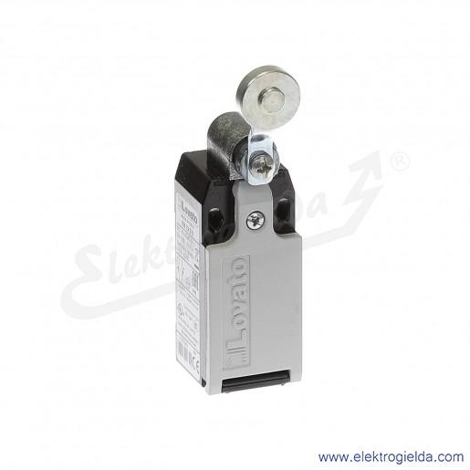 Wyłącznik krańcowy KMES11 dźwignia uchylna z rolką metalową 19mm, styki 1NO+1NC, obudowa metalowa IP65