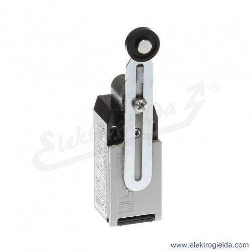Wyłącznik krańcowy KMF1S11 dźwignia uchylna regulowana z rolką plastikową 19mm, 1NO+1NC, obudowa metalowa IP65