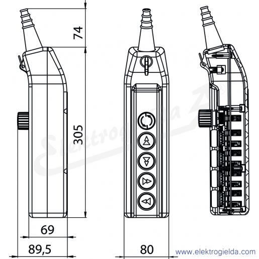 PKS-6\WO2 Kaseta sterownicza suwnicowa - wymiary