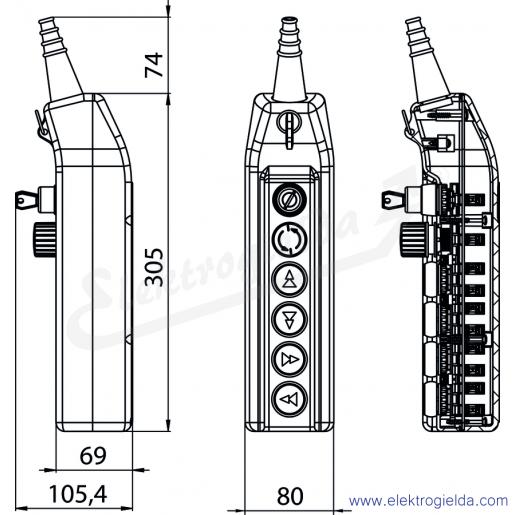 PKS-6\W03 Kaseta sterownicza - wymiary