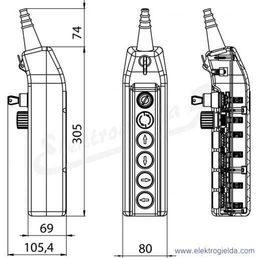 PKS-6\W05 Kaseta sterownicza - wymiary
