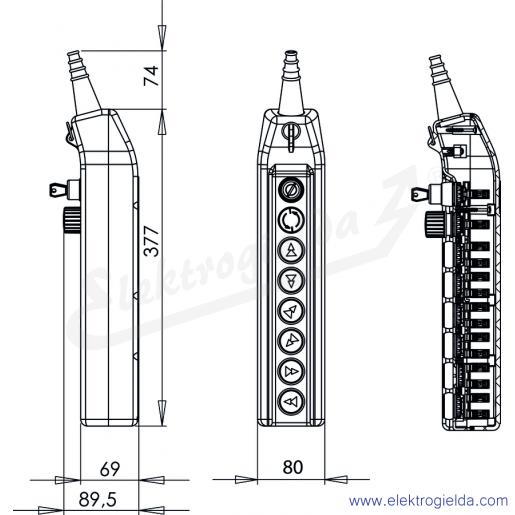 PKS-8\W03 kaseta sterownicza - wymiary