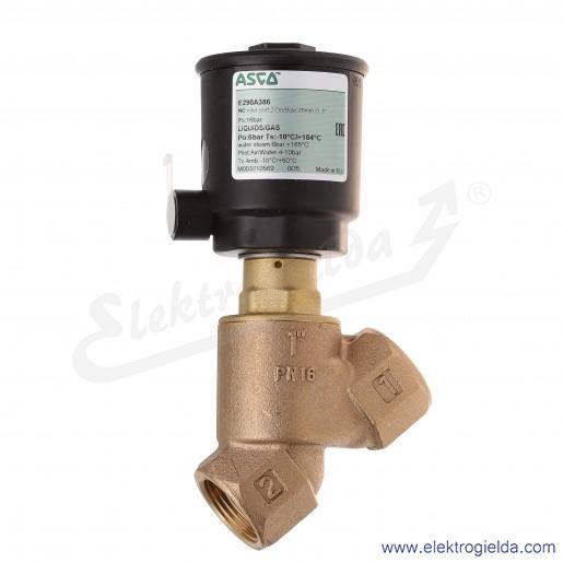 E290A386 zawór pneumatyczny 2/2 NC G1 0-6 bar, korpus mosiężny, gwint wewnętrzny 1 cal