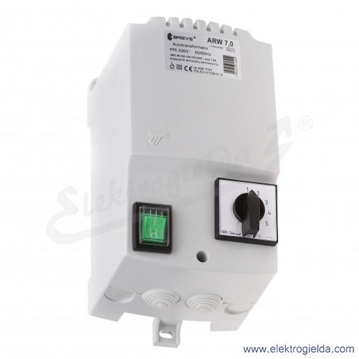 Regulator autotransformatorowy ARW 7.0 - 7A 230VAC, 5-stopniowa regulacja